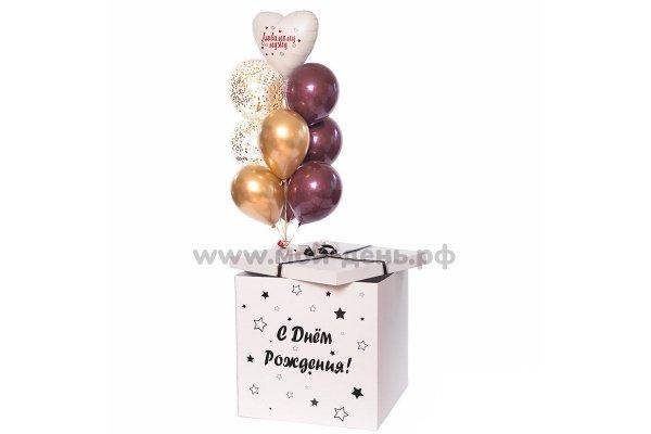 Коробка для шаров с бантом и индивидуальной надписью