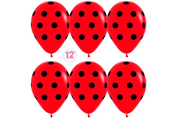 Красные шары в черные точки