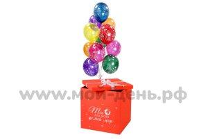 Коробка для шаров красного цвета с бантом и индивидуальной надписью.