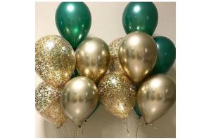 Набор шаров зеленый с золотом