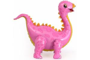 Ходячий шар динозаврик розовый
